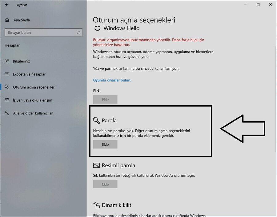Windows 10 giris sifresini kaldirma 1