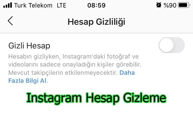 instagram hesap gizleme 2